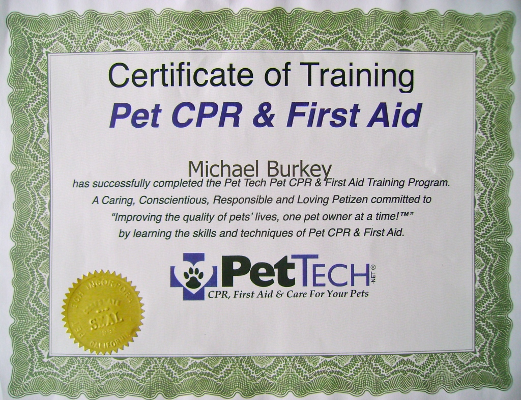 Michael Burkey, Michigan Dog Trainer, Pet First Aid and CPR, PetTech